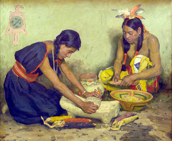 Grinding Corn by E.I. Couse, notable for its inclusion of the Santa Fe logo